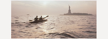 New Yorkers Eric Stiller and Tony Brown prepared to circumnavigate Australia by kayak, with daily workouts around the island of Manhattan. (This photo of mine originally published in Islands magazine.)